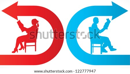 divorce brake up illustration reading news and sitting on chair - stock vector