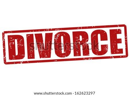 Divorce grunge rubber stamp on white, vector illustration - stock vector