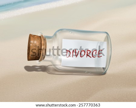 divorce message in a bottle isolated on beautiful beach - stock vector