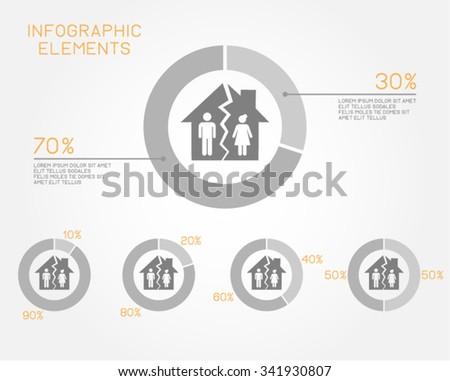 Divorce Relationship Marriage Vector Pie Chart Infographic Elements - stock vector