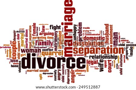 Divorce word cloud concept. Vector illustration - stock vector
