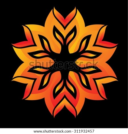 Diwali Decorative Mandala Fire Background, Mandala. Oriental indian, chinese style. Circled element for design. Flower pattern isolated on white background. Logo template. Vector illustration - stock vector