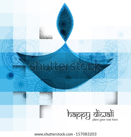 Diwali diya blue colorful vector illustration - stock vector
