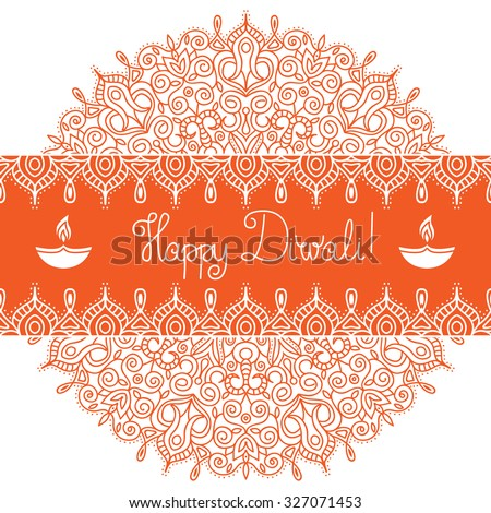 Diwali Holiday vector template. Mandala background. Banner with hand lettering quote Happy Diwali, symbol of burning diya and ethnic ornament. Could be used as design for greeting card, textile or web - stock vector