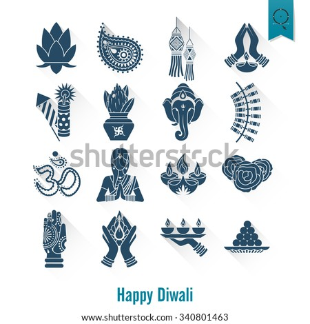 Diwali. Indian Festival Icons. Simple and Minimalist Style. Vector - stock vector