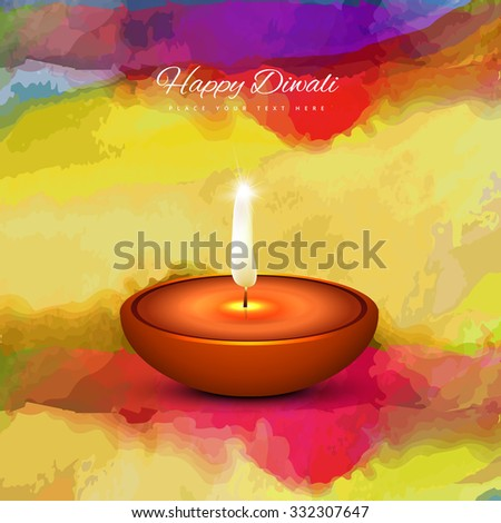 Diwali lamp colorful vector traditional Hindu festival  background - stock vector