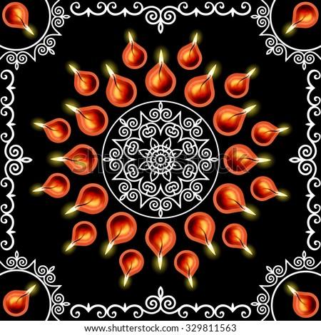 Diwali Lamps Decoration (EPS10 Vector) - stock vector