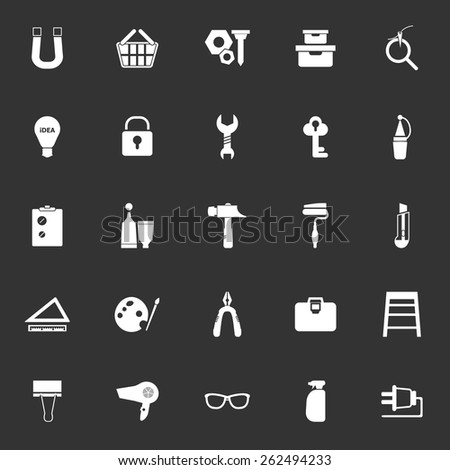 DIY icons on gray background, stock vector - stock vector