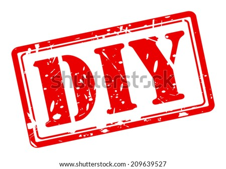 DIY red stamp text on white - stock vector