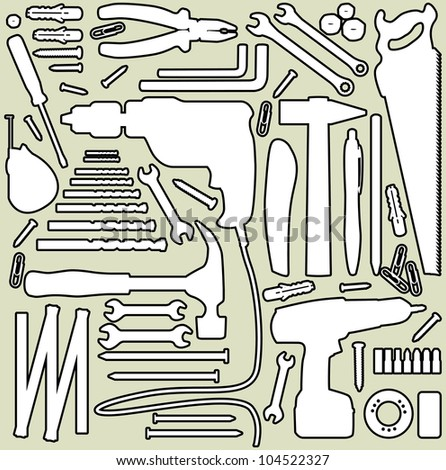 DIY tool - silhouette illustration - stock vector