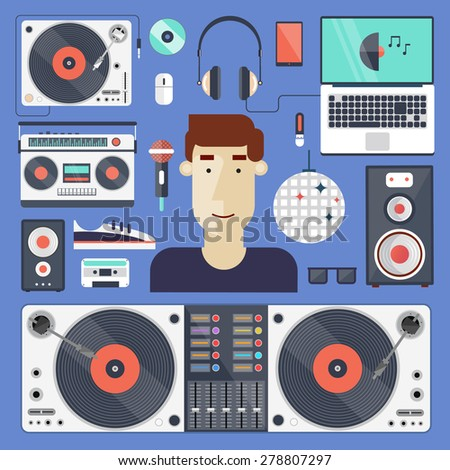 DJ and set of icons. Night club. Party, music composing, design elements for mobile applications and info-graphics in modern flat style. - stock vector