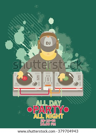 DJ character music. Musical entertainment. Flat vector illustration - stock vector