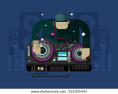 DJ character music. Party and sound, audio disco, musical entertainment. Flat vector illustration - stock vector