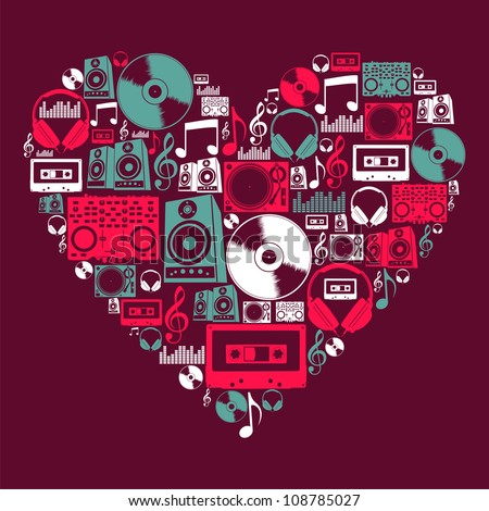 Dj music icon set in love heart shape  Vector file layered for easy manipulation and custom coloring - stock vector