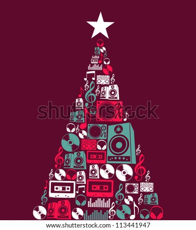 Dj music retro icon set in Christmas pine tree shape illustration background. Vector illustration layered for easy manipulation and custom coloring. - stock vector