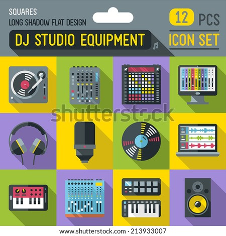 Dj music studio equipment flat long shadow square icon set. Vector trendy illustrations.  - stock vector