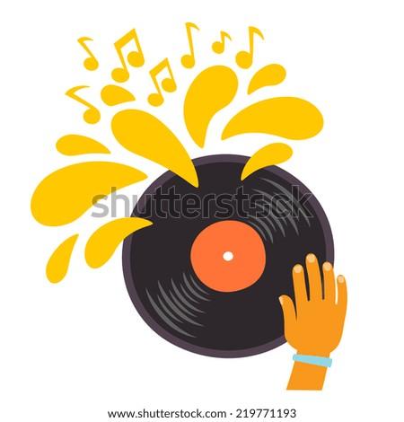 Dj play on a vinyl record, cartoon flat style vector illustration - stock vector