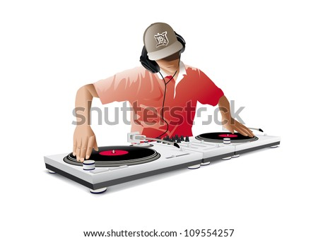 Dj playing disco house techno & dance - stock vector