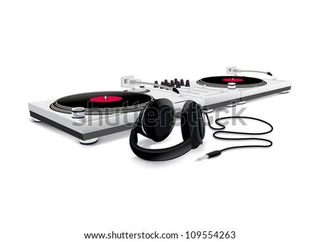 Dj playing disco house techno & dance - stock vector