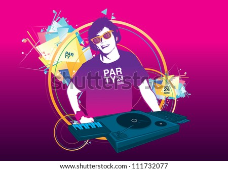 DJ playing turntable and music in the night party - stock vector