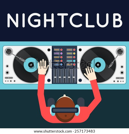 DJ playing vinyl. Top view of dj workspace with turntables and mixer. Night club. Party poster design in modern flat style. - stock vector
