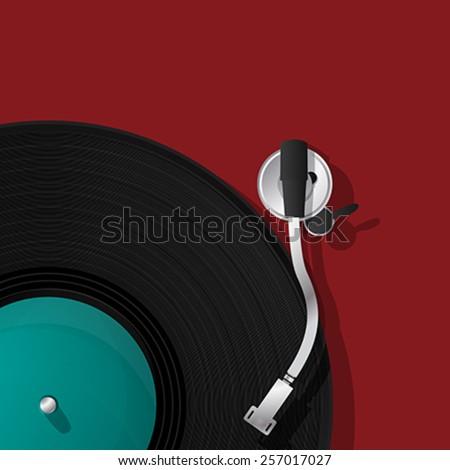 DJ record player vinyl icon - stock vector