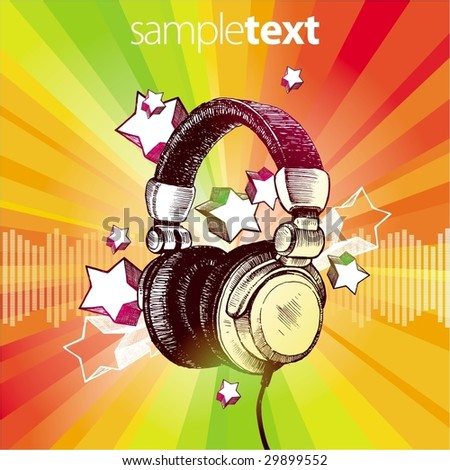 DJ's headphones - stock vector