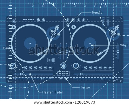 Dj turntable schematic background - stock vector