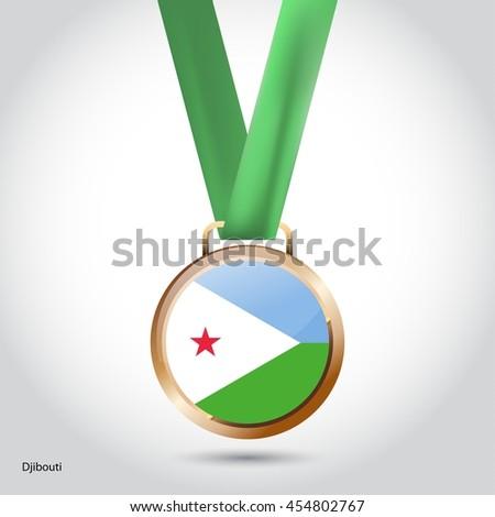 Djibouti Flag in Bronze Medal. Olympic Game Bronze Medal. Vector Illustration - stock vector