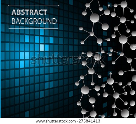 DNA background. molecular structure of planar elements. vector. blue Light Abstract Technology background for computer graphic website internet business. text box.Tables,mosaic.pixel.card - stock vector