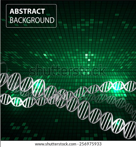 DNA background. molecular structure of planar elements. vector. green Light Abstract Technology background for computer graphic website internet and business. text box. Tables, mosaic - stock vector