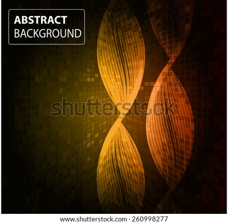 DNA background. molecular structure of planar elements. vector. orange Light Abstract Technology background for computer graphic website internet business. text box. card. banner. Pixel, table, Mosaic - stock vector