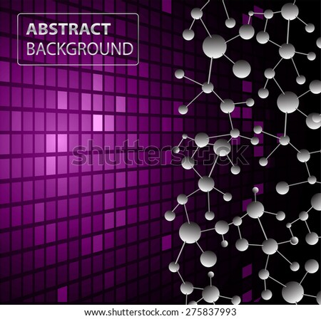DNA background. molecular structure of planar elements. vector. purple Light Abstract Technology background for computer graphic website internet business. text box.Tables,mosaic.pixel.card - stock vector