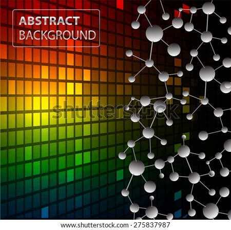 DNA background. molecular structure of planar elements. vector. red yellow blue Light Abstract Technology background for computer graphic website internet business. text box.Tables,mosaic.pixel.card - stock vector