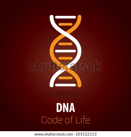 DNA / Biotechnology Background with Minimalist, Flat & Retro Style - stock vector
