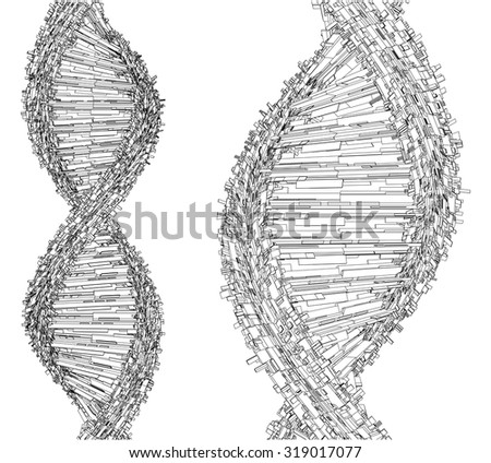 DNA Chain Made With Cubes And Boxes Vector 27 - stock vector