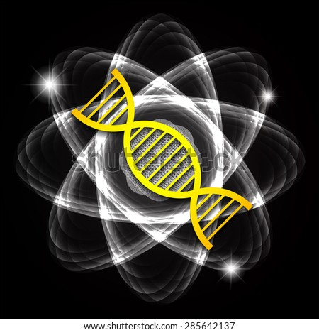 DNA. Dark black Shining atom scheme. Vector illustration. dark background. digital. infographics. Abstract Technology background for computer graphic website internet and business. circuit. - stock vector