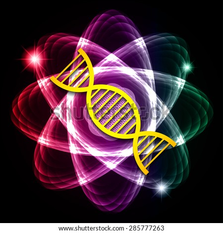 DNA. Dark purple red green Shining atom scheme. Vector illustration. dark background. digital. infographics. Abstract Technology background for computer graphic website internet and business. circuit. - stock vector