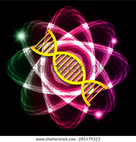 DNA. Dark red purple green Shining atom scheme. Vector illustration. dark background. digital. infographics. Abstract Technology background for computer graphic website internet and business. circuit. - stock vector