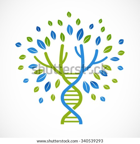 DNA, genetic icon - tree with green leaves - stock vector
