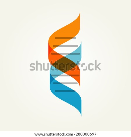 DNA genetic sign, element and icon - stock vector