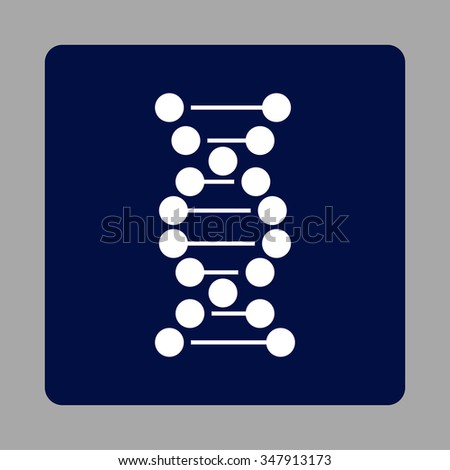 Dna Helix vector icon. Style is flat rounded square button, white and dark blue colors, silver background. - stock vector