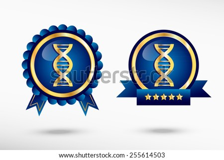 DNA icon stylish quality guarantee badges. Blue colorful promotional labels - stock vector