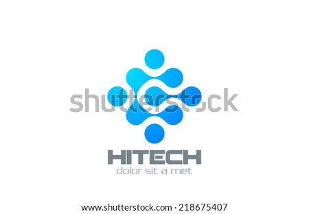 DNA Molecular Electronics Hi-tech Chip Futuristic Logo design abstract vector template. Business technology creative logotype symbol icon.  - stock vector