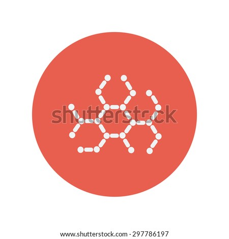 DNA molecules thin line icon for web and mobile minimalistic flat design. Vector white icon inside the red circle. - stock vector