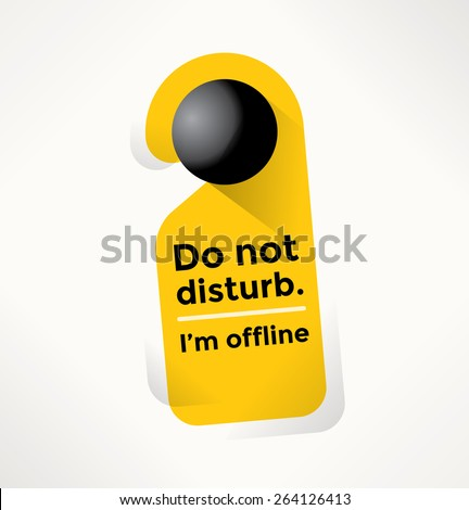 Do Not Disturb Door Sign with I'm offline text. Internet addiction, Social networking, Online messaging and chat services concept. - stock vector