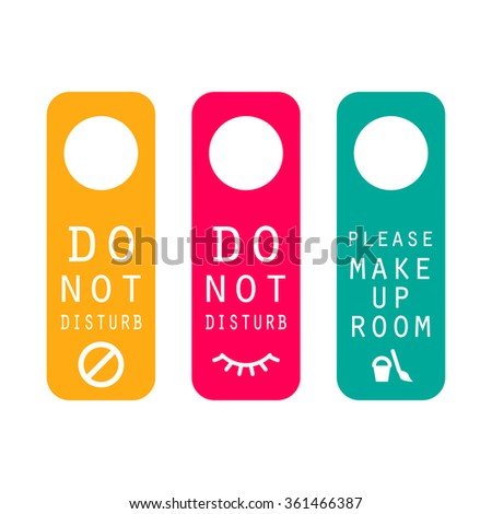 Do not disturb hotel service door hanger tags. Sleep time, make up room, busy label. - stock vector