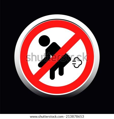 Do not fart red sign on white - stock vector