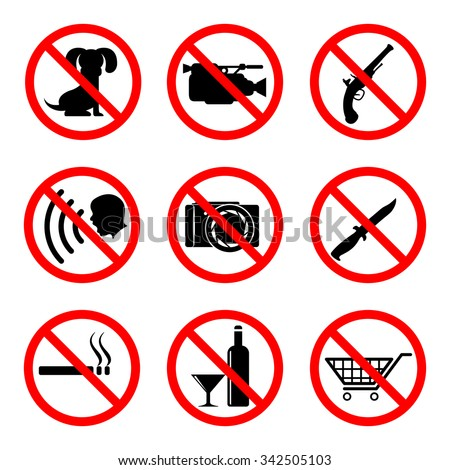 Do not icons set, 9 main prohibiting signs, 2d vector symbols, eps 8 - stock vector