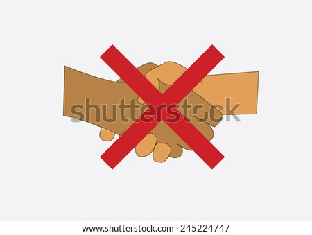 Do not spreading disease by shaking hands. Vector Illustration - stock vector